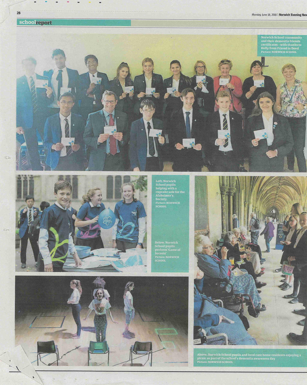 Norwich School Pupils and staff help raise money for Alzheimer's